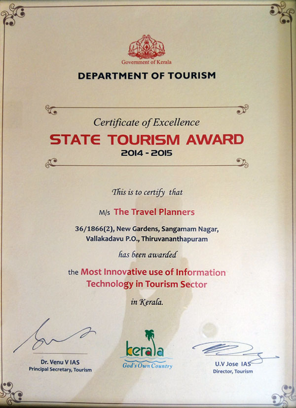 Certificate of excellence the travel planners kerala tour for Travel planners kerala reviews